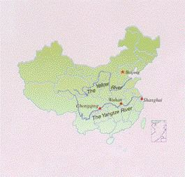 Location of the Yangtze River in China. The dam covers an area between Chongqing and Wuhan.