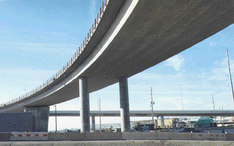 Above: concrete bridges curve in every direction.