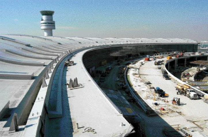 New terminal roof and control tower, with access road bridge on the inside.