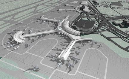 Artist's aerial view of new terminal, with existing Terminal 3 in the background. Images are courtesy Greater Toronto Airports Authority unless otherwise noted.