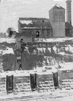 Chignecto ship railway power station and lifting dock under construction at Bay of Fundy end.