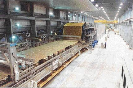 The new machine uses wastewater from the two existing linerboard machines as its main source. The new board machine sits in-line with the existing machines in a building half a kilometre long.