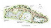 """Drawing of pilot wetland project with (left to right) """"salvaged"""" cell, """"do nothing"""" cell and """"planted"""" cell."""
