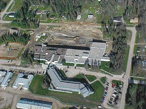 Aerial view of college, with the hydrocarbon contaminated soil being removed.