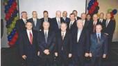 Seventeen past presidents of Consulting Engineers of Alberta attended its 25th anniversary celebrations at the Westin Hotel, Edmonton. Current president, Bob Gomes, P.Eng. of Stantec, is ninth from the left in the back row.