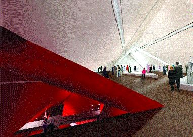 Irregular geometries, sloped roofs, walls and odd skylights will mark the interior of the Royal Ontario Museum's new crystal addition.