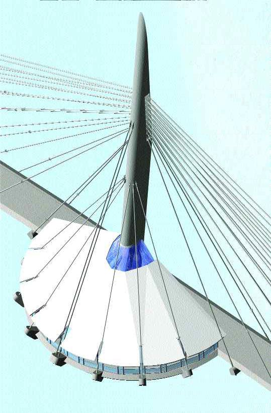 Architects' computer graphic of spire.