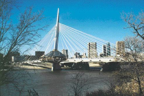 """The Riel Esplanade pedestrian bridge with cables and spire creating """"the impression of walking in an outdoor cathedral."""" x"""