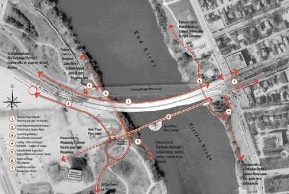 Plan view, showing twin vehicular bridge and pedestrian bridge splitting off from a shared point on the east bank; two-thirds of the way along the pedestrian bridge at the base of the spire is a plaza and large restaurant. The project is intended to revitalize the city's downtown core.