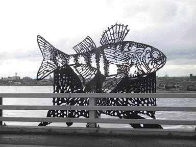 One of four fish sculptures.