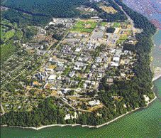 "Aerial view of UBC's campus, ""the size of a small city."""