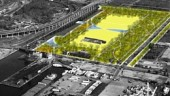 """The alternative """"Green Room"""" option for Commissioner's park is more box-like but gives clear open space."""