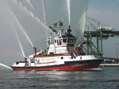 The 32-metre long boat pumps up to 2,625 litres per minute.