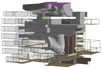 Figure 1: CFD model shows smoke (represented by a grey iso-surface) penetrating into many occupied areas of a building with a complex atrium.