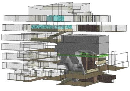 Figure 2: the same building and fire scenario but with a smoke management system that segregates the atrium. The result is improved performance and capital cost savings.