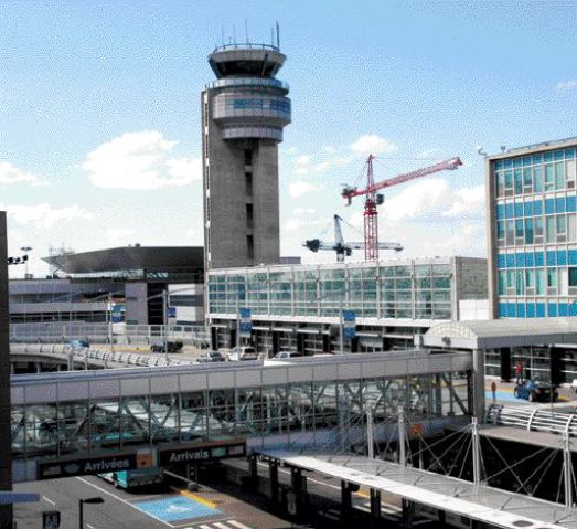Pierre Elliott Trudeau International Airport (formerly Dorval) in Montreal. The new international complex is left of the control tower.