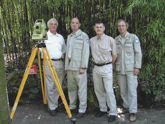 AWARD OF EXCELLENCE. Land Titling in Landmine Contaminated Areas of Cambodia. McElhanney Consulting Services of Vancouver and Geospatial International of Victoria, B.C. Left to right: John Blair, Don Murray, Chris Newcomb, Ian Lloyd.