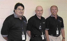 SCHREYER AWARD. Bruce A Nuclear Plant Restart, Kincardine, Ontario. Acres-Sargent & Lundy-Fox (ASLF). Left to right: Terry Armstrong (E.S. Fox), Alan O'Brien (Acres), Michael Knaszak (Sargent & Lundy).