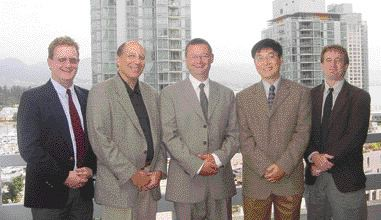 AWARD OF EXCELLENCE. Crowchild Trail Improvements, Calgary. Clifton ND LEA Consulting. Left to right: Dan Meidl, Roger St. Louis, Frank Margitan (Kiewit), Jianping Jiang, Graham Wilkins.