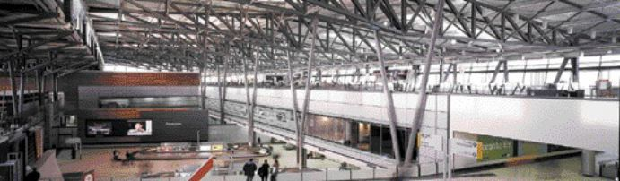 New terminal hall with its complex, elegant structure.