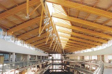 Galleria Roof over shopping centre below and university space on both sides; the roof is 137 m long with a constantly changing cross-section.