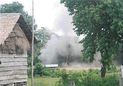 Exploding a landmine.