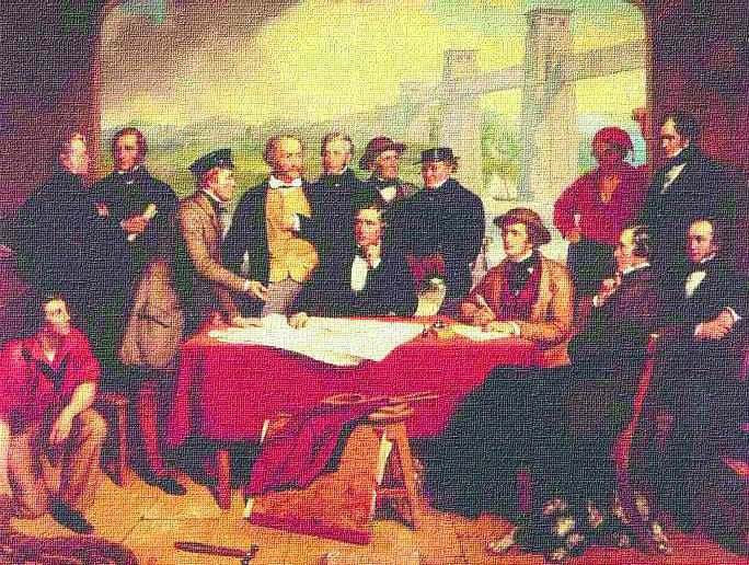 """An imaginary scene painted by portrait artist John Lucas depicting """"a meeting of the engineers involved in Robert Stephenson's Britannia Bridge."""" Stephenson is seated at centre and Alexander M. Ross is standing on the extreme right of the painting. Seated in front of Ross is the legendary Victorian engineer, Isambard Kingdom Brunel. Image reproduced by permission of the Institution of Civil Engineers."""
