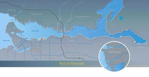 map of the Vancouver Port Authority area, which includes 25 different terminals of various types scattered around the waterfront.