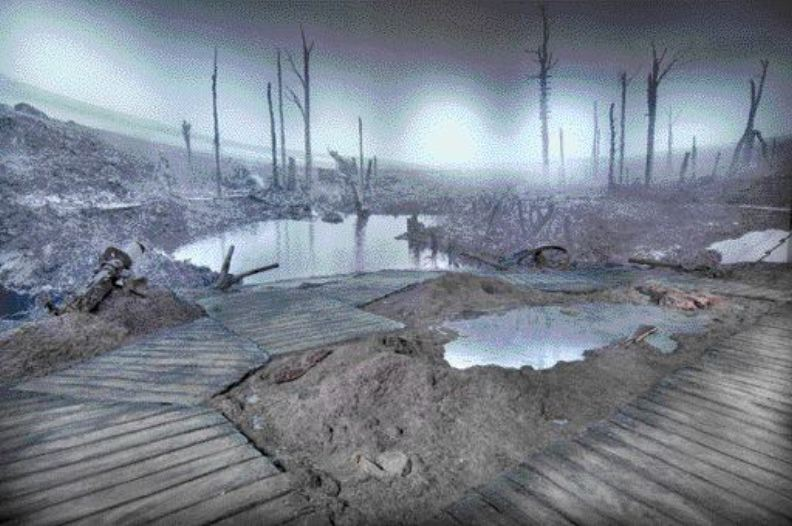 exhibit of the wastes of Passchendaele, Belgium, one of the major battle sites of the First World War and one in which Canadians played a major part. Over 500 photographs are blown up to enormous sizes to give visitors a sense of walking into the exhibits.