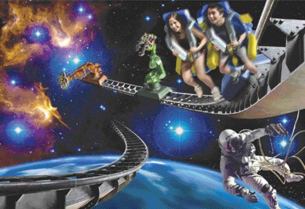 """artist's impression of the experience. Riders on the robot move through different screens, progressing through a story. At the same time they can feel as though they are """"floating on air, diving underwater, or flying a jet."""""""