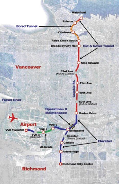 Route of the Richmond-Airport-Vancouver line, as revised in August.