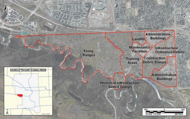 the 380-hectare former military lands had firing ranges, disposal sites and buildings. Inset is the location in Calgary.