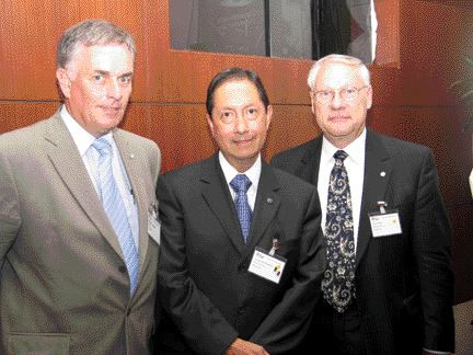 From left to right, ACEC Chairman, Mr. Norm Huggins, new FIDIC President, Dr. Jorge Diaz Padilla of Mexico, and FIDIC Vice-President, Dr. John Boyd, P. Eng. of Canada.