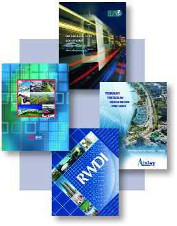 Above: brochures produced for consulting engineers by the author.