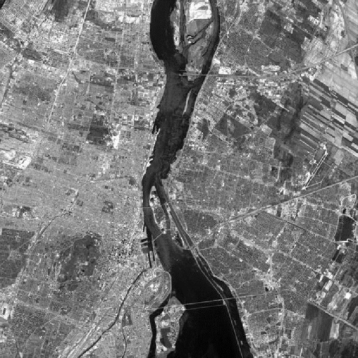Satellite view of the crossing over the St. Lawrence River. A bridge spans the arm of the river from the south shore (right in picture) to the Boucherville Islands. Then a tunnel takes traffic for 1.4 kilometres underwater to the Island of Montreal (left).