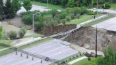 Finch Avenue bridge, Toronto after its collapse during a heavy storm last August.