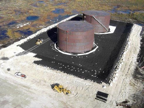 Containment liner under construction at the Victor Diamond Mine in Ontario.