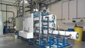 Reverse osmosis membrane filtration equipment. It follows the biological treatment stage.