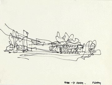 Frank Gehry's hand drawing for the Guggenheim Museum in Bilbao, Spain. . Gehry Partners, LLP. A series of the celebrated architect's drawings for museum projects are being shown at the University of Toronto Art Centre until 17 June, 2006 (in parallel with an exhibition at the Art Gallery of Ontario). O.K. structural engineers -- Take it away!