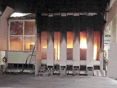 Fire tests on a mock-up of an office in the World Trade Center North Tower, conducted by NIST. NIST