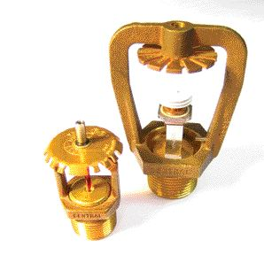compare sizes of K=14.0 (left) and K=25.0 ESFR heads ; the higher the K-factor, the lower the water pressure required for the head to function. ESFR heads are often used in high pile storage areas. Lee Norton