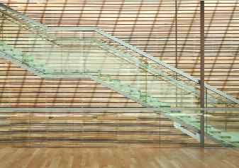 Glass staircase, with steel connections minimized.