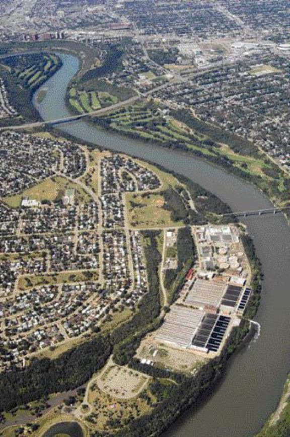 Aerial view of the Gold Bar Wastewater Treatment plant in Edmonton. Its membrane-based water re-use facility is the largest in Canada.