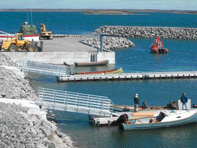 New breakwater, jetty and small craft docks.