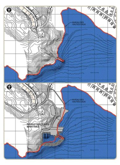 Above: site before (top) and after (below) construction. The habour basin was excavated onshore.