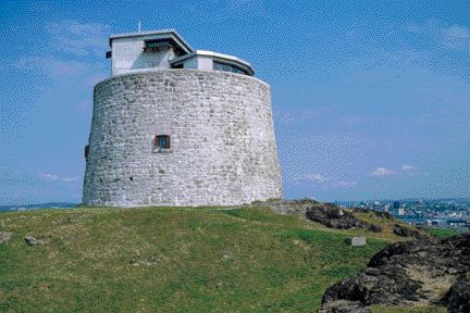 The Carleton Martello Tower overlooking the harbour of Saint John, New Brunswick, was built in 1812 and used until the end of World War II.