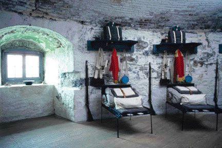 Reconstructed soldiers' barracks on second floor of Carleton tower in Saint John, N.B.