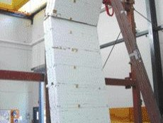 unreinforced masonry walls are tested on a shake table at the Earthquake Engineering Research Facility, University of B.C.
