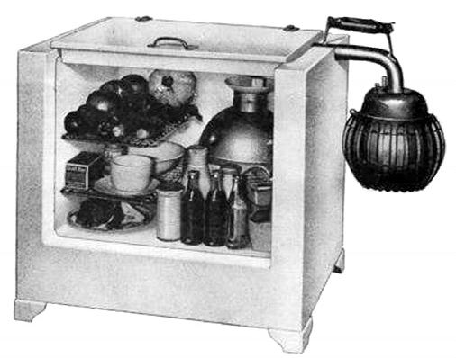 Brochure image of the Icyball in its cabinet; the refrigerator required no electricity.
