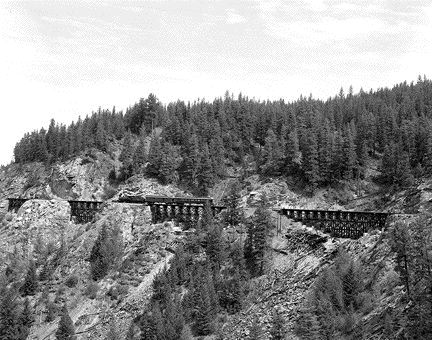 Historic CPR photograph of four trestles.